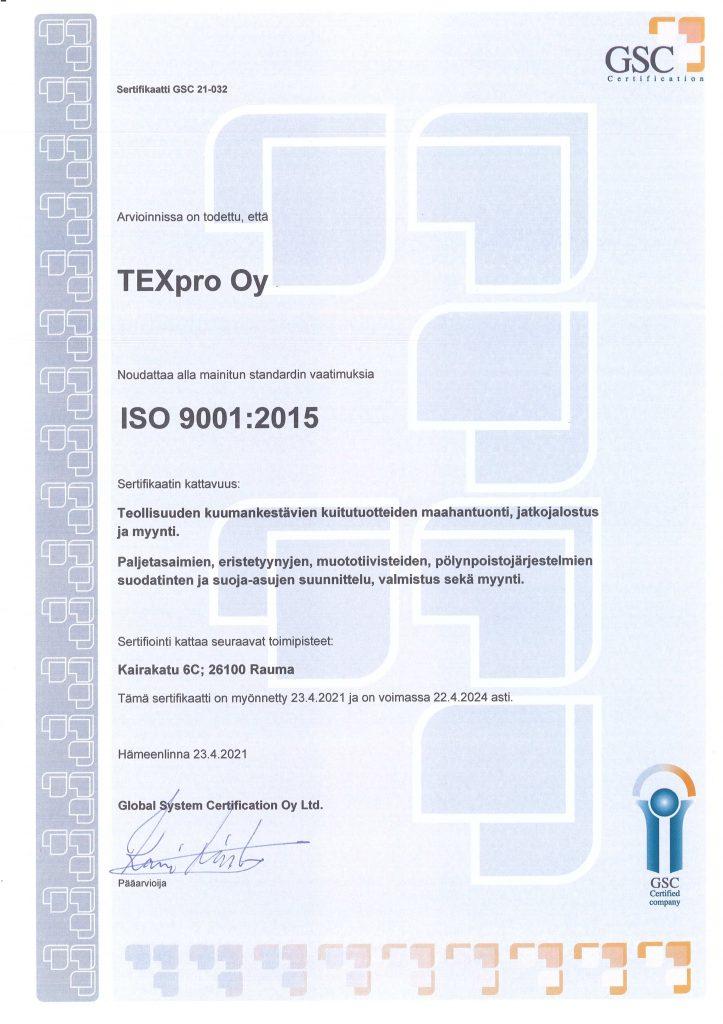 Texpro Oy:n ISO 9001-sertifikaatti
